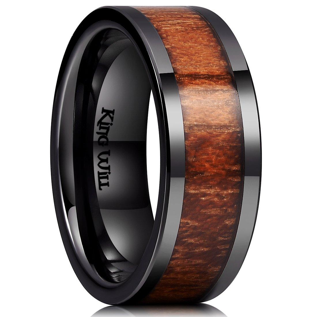 King Will Nature 8mm Black Koa Wood Ceramic Ring Wedding Band Polished Finish Comfort Fit