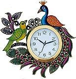 JaipurCrafts Designer Kundan Studded And Meenakari Stylish Beautiful Wooden Peacock Emboss Painting Wall Clock| Clock For Home | Wall Clock For Kitchen | Rajasthani Wall Clock