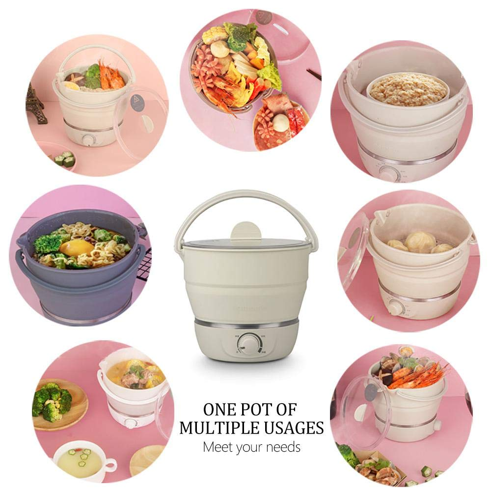 Leegoal Foldable Electric Hot Pot, Multifunctional Mini Electric Cooker Collapsible Portable Noodles Cooker for Dormitory,Home, Traveling Outdoor