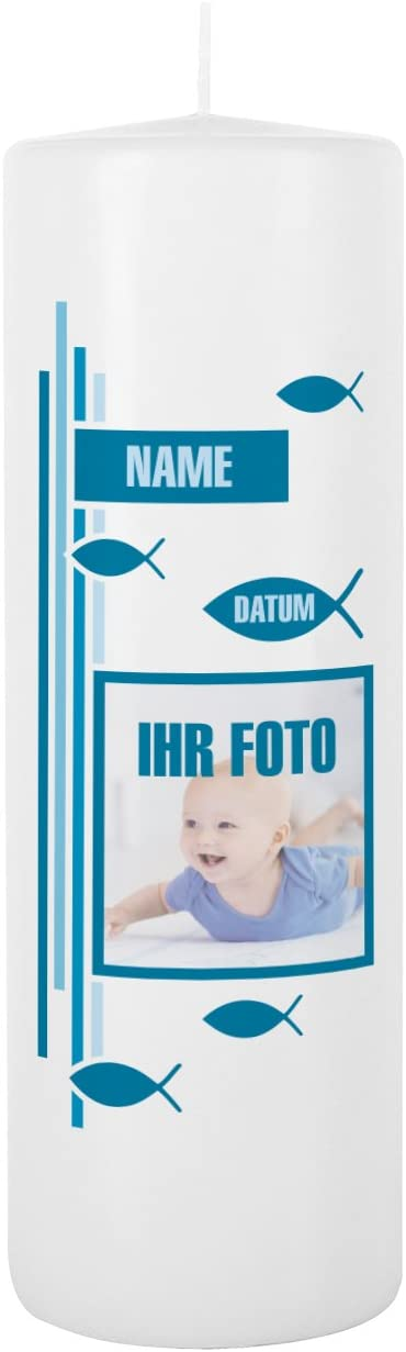 Namen u Striefchen/® Taufkerze mit Foto Taufdatum blau 8x25 cm Blanche Wei/ß