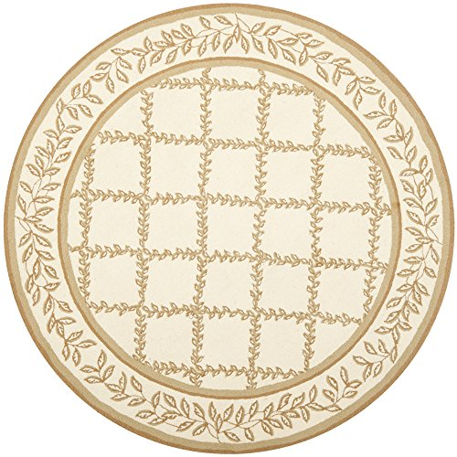 Safavieh Chelsea Collection HK230C Hand-Hooked Ivory and Camel Premium Wool Round Area Rug (8' Diameter) - 8r Chelsea Round Rug