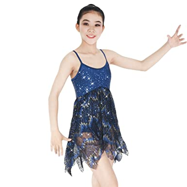 39af8de34 MiDee Lyrical Dress Dance Costume Lace and Georgette with Sequins (IC, Navy  Blue)
