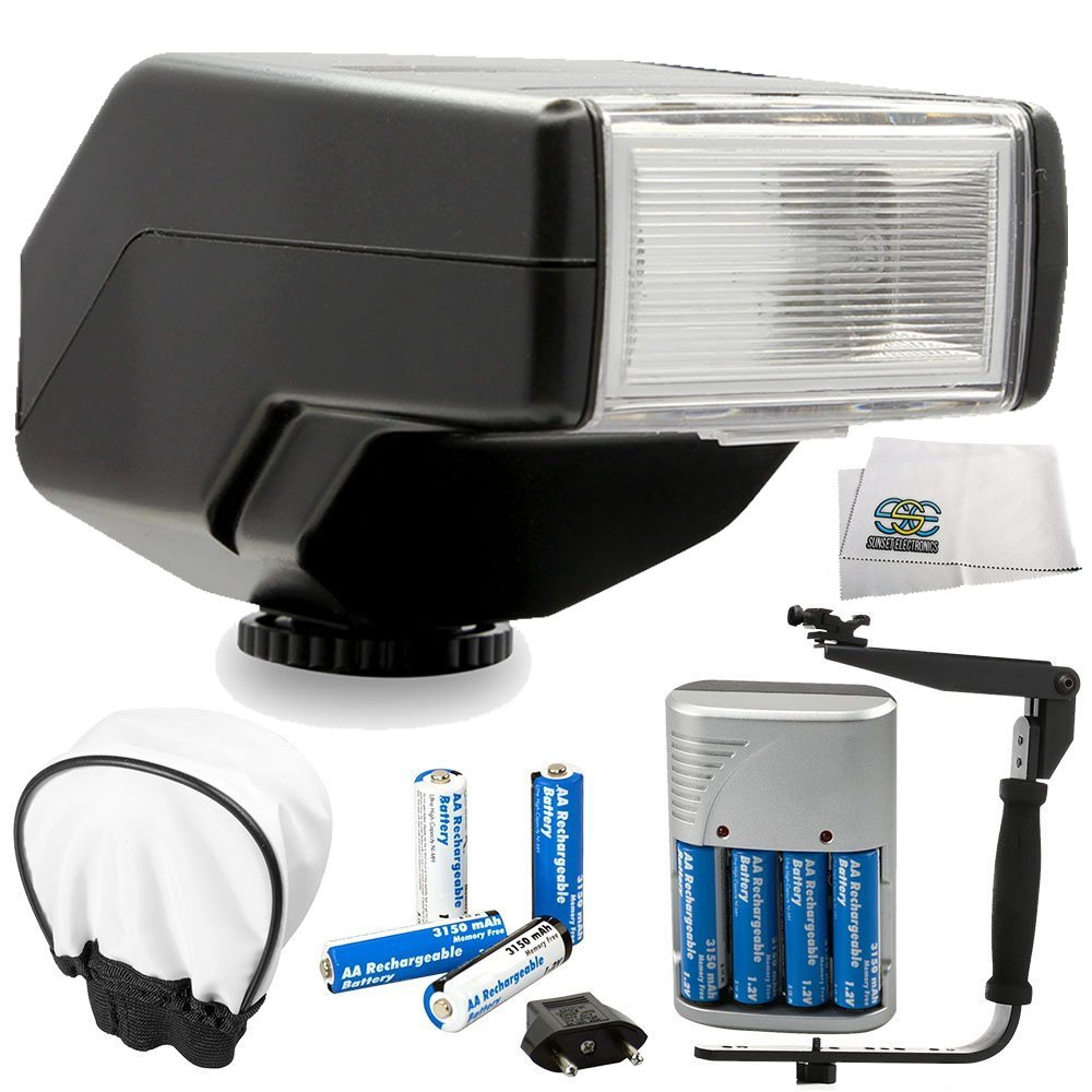 Universal Low Profile Automatic Flash for all DSLR Digital Cameras Bundle