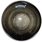 Obsidian Ball Gold 32 Crystal Healing Sphere Positive Manifestation Sphere Stone Lava Magma 3.7''