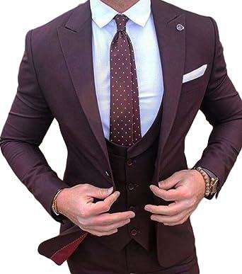 b0a8068b6 Botong Burgundy Men Suit 3 Pieces Wedding Suits Jacket Vest Pants ...