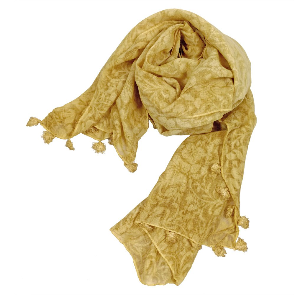 StarGo All Season Lightweight Fashion Women Wrap Shawl Scarf Scarves with Tassels and Embroidery Patterns (Yellow (Flower))