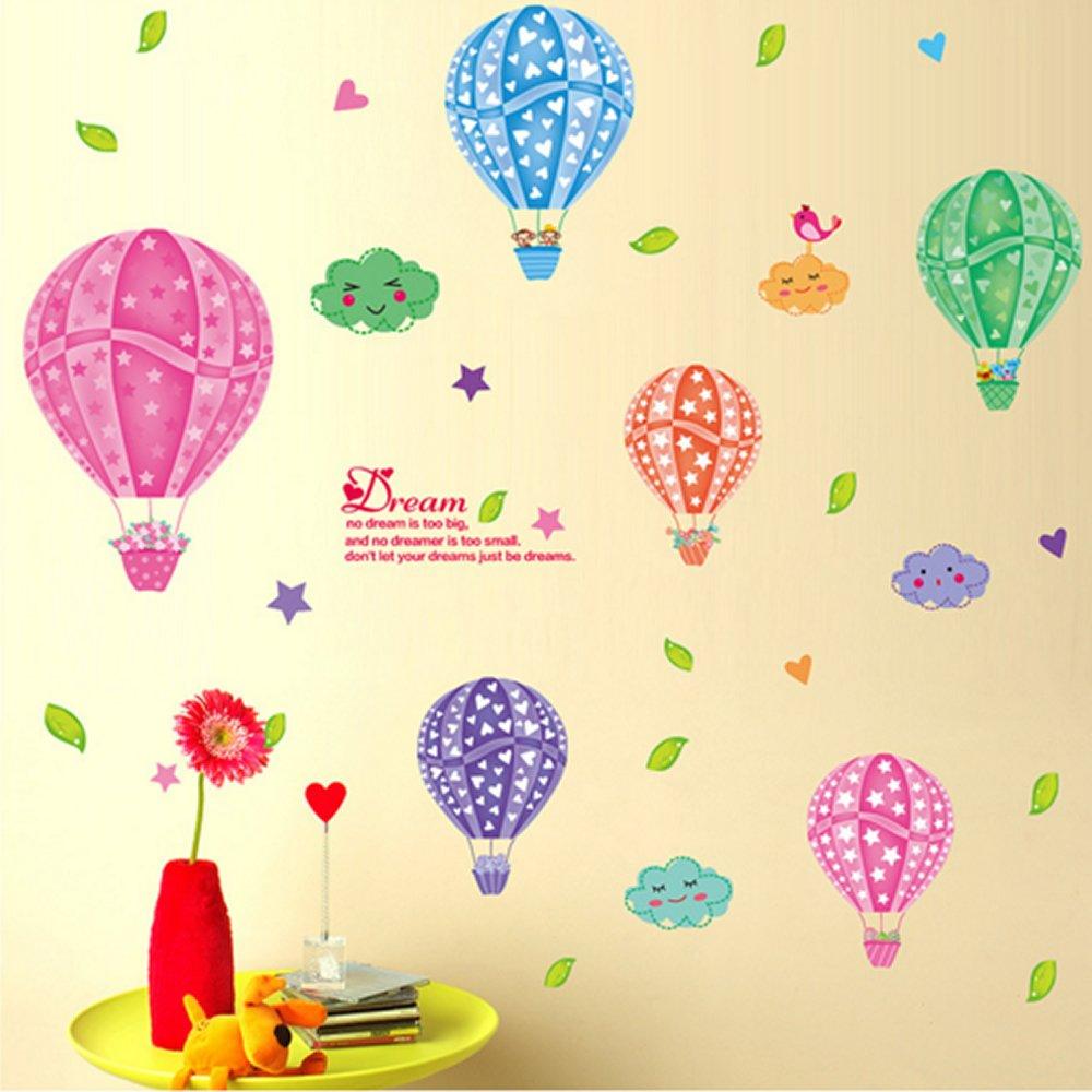 Amazon.com: Nursery Wall Decor Decal Sticker Kids Room Hot Air ...