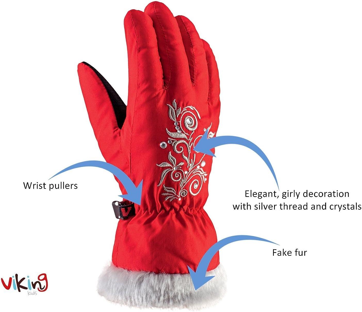warm mit Kunstfell weich und bequem Natty Mitten f/ür M/ädchen viking Handschuhe Winter Skihandschuhe F/äustlinge Kinder