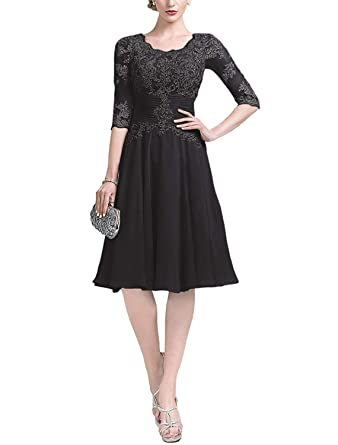 94156bf1ca4d liangjinsmkj Women's Applique Prom Dress Knee Length Chiffon Lace Sleeve  Ruffle Evening Formal Bridesmaid Dress Black