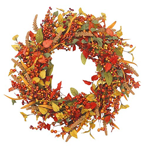 Easy Halloween Wreath (VGIA 22 inch Artificial Fall Wreath Door Wreath Autumn Wreath Berry Wreath Fall)