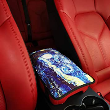 MLOVESIE Auto Center Console Cover PU Leather Bling Bling Crystal Car Armrest Cushion Universal Fit for Most Car for Women