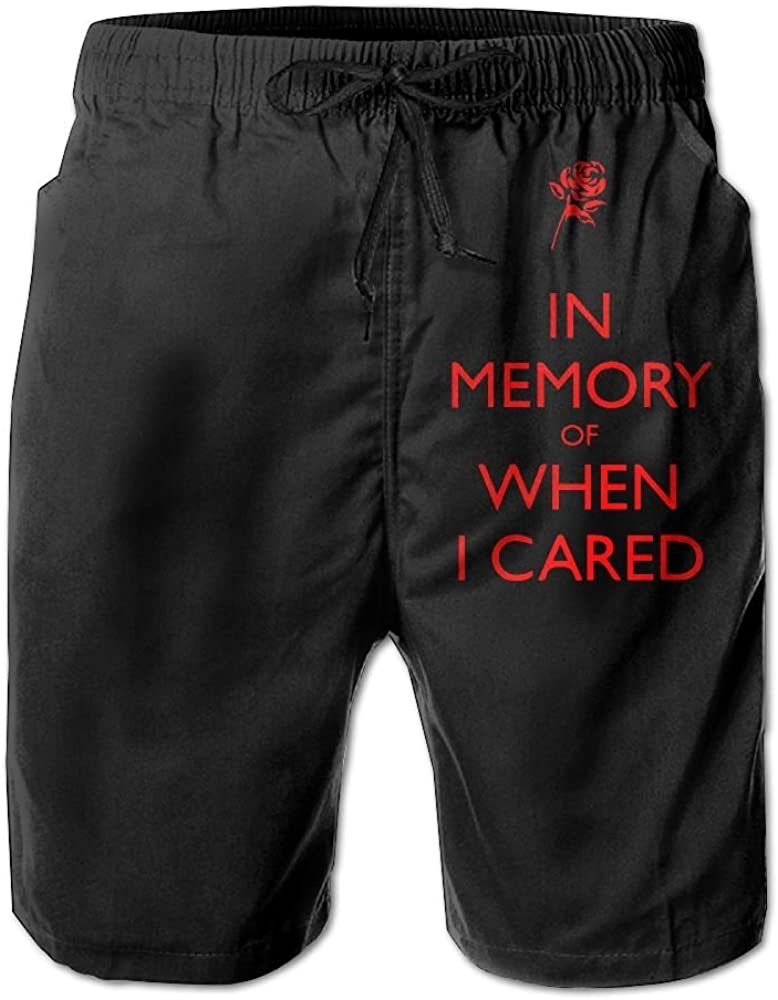 Mens Swim Trunks Quick Dry in Memory of When I Cared 100/% Polyester Workout Shorts