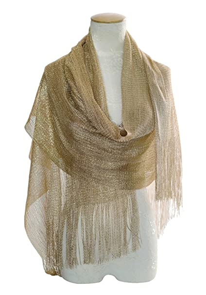 8861e505d7ef MissShorthair Womens Wedding Evening Wrap Shawl Glitter Metallic Prom Party  Scarf with Fringe(Champagne Gold
