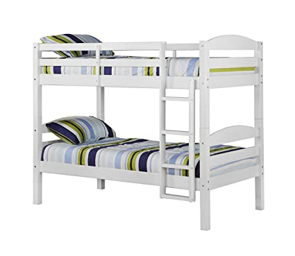 Amazoncom WE Furniture Solid Wood Twin Bunk Bed White Kitchen