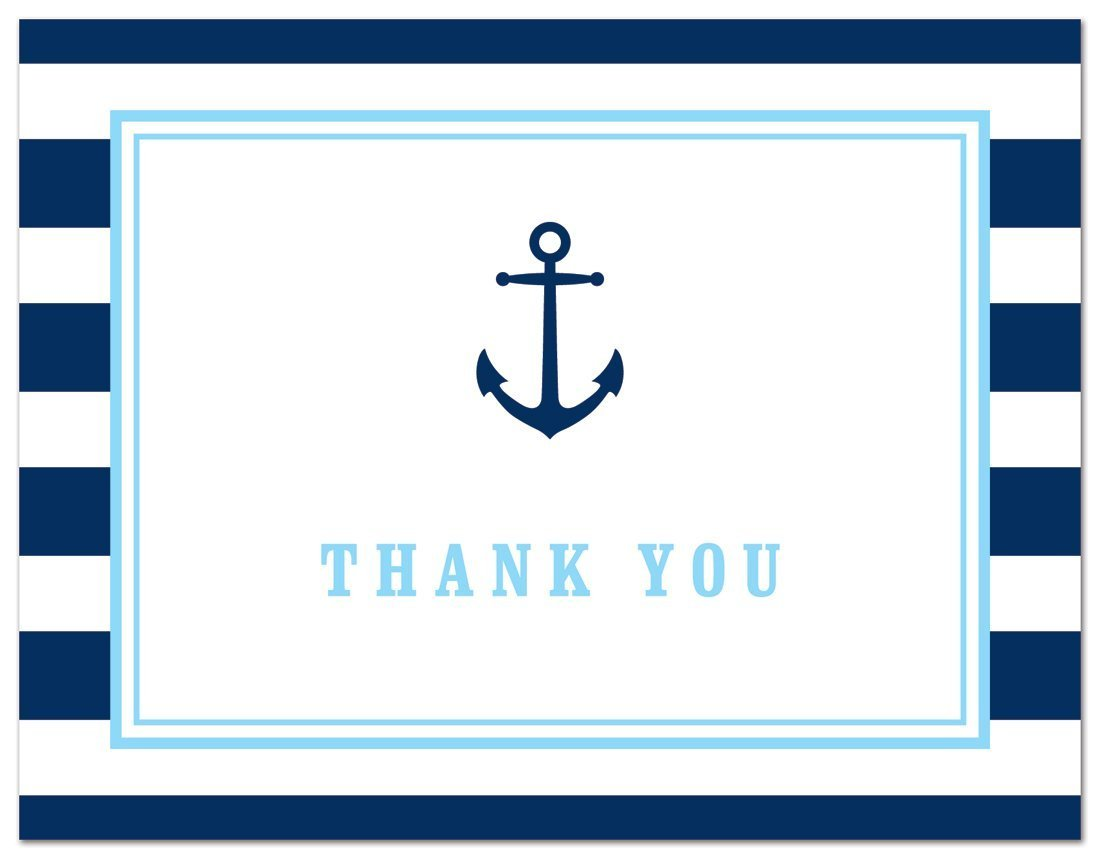 50 Cnt Navy Stripes Blue Border Nautical Boy Baby Shower Thank You Cards by MyExpression LLC (Image #3)