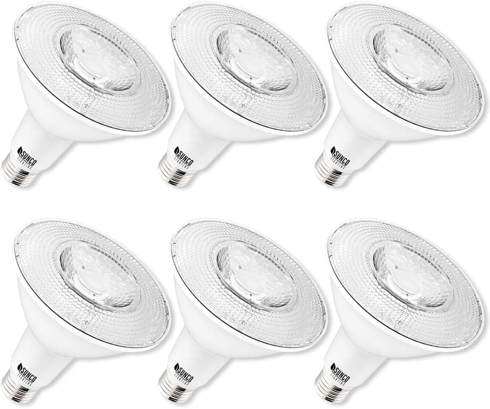 Sunco Lighting 6 Pack PAR38 LED Bulb 13W=100W, 6000K Daylight Deluxe, 1050 LM, Dimmable Flood Light, Indoor/Outdoor, Accent, Highlight - UL & Energy Star Listed