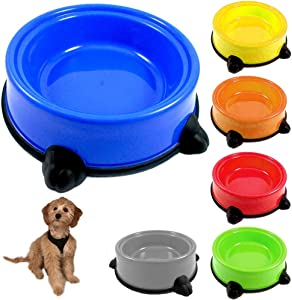 Pet Food Bowl Non Skid Feeding Dish Dog Cat Water Food Feeding Plastic Plate 9