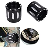 DLLL Motorcycle CNC Deep Cut Front Axle Cover Blot Caps For Harley Davidson Dyna Sportster XL 883 1200 X48 Softail Touring 08-17 Electra Street Glide