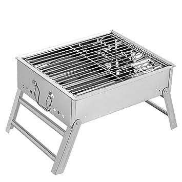 ZZ-aini Plegable Portátil Barbacoa de Carbón Acero Inoxidable, Barbecue BBQ Sobremesa Camping Picnic Aire Libre-Acero Inoxidable 35x29x18cm(14x11x7inch): ...