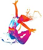 Wallmonkeys The Dancing Girl with Colorful Spots and Splashes on White Peel and Stick Wall Decals WM26186 (24 in H x 21 in W)