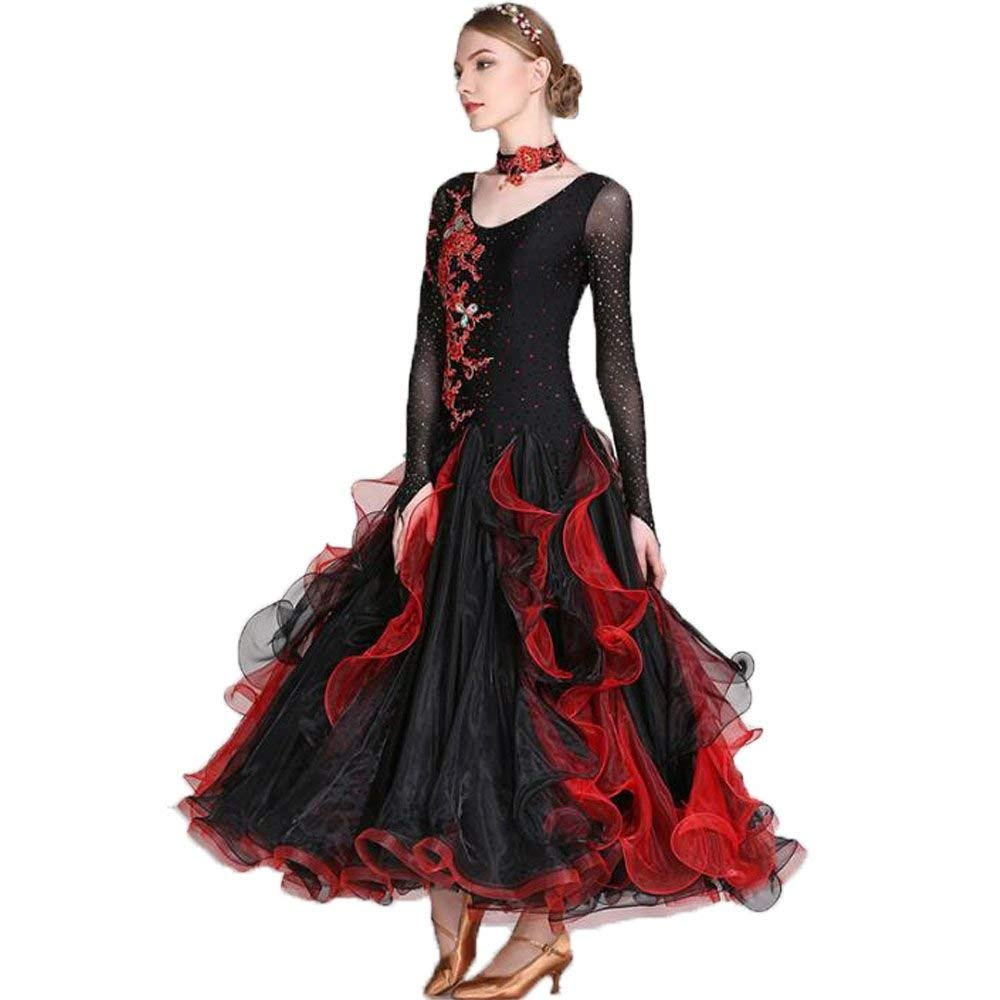 garuda 上品レディース社交ダンス衣装 エレガント競技ダンスドレス 社交ダンス ウェア ブラック Medium
