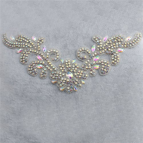 [Crystal Applique, Neckline Applique, Rhinestone Beaded Patch, Sewing or Hot Fix for Wedding Dress Women Evening Gowns Round Neckline - AB Crystal] (Easy Diy Plus Size Halloween Costumes)