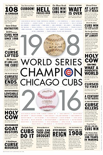 OnceEvery108 Chicago Cubs 2016 World Series Poster with MLB City Newspaper Headlines and Ledes 20
