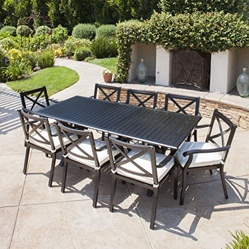GDF Studio 301105 Eowyn 9 Piece Cast Aluminum Outdoor Dining Set with Expandable Table, Black (Patio Set Black Piece 9 Dining)