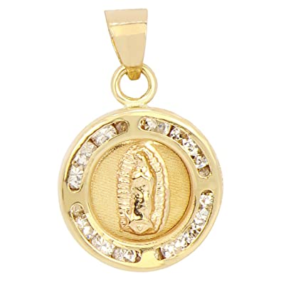 Amazoncom 14k Yellow Gold Mini Laser Reversible Virgin Mary