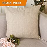 "Home Brilliant Burlap Decorative Throw Pillow Euro Sham Pillowcase Cushion Cover, 26""x26"", Light Linen"