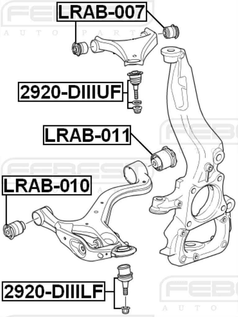 Arm Bushing Front Lower Arm FEBEST LRAB-010 OEM RBX500432