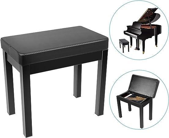 Neewer Piano Banco Banco de Taburete Teclado - Cojin Acolchado Deluxe Comfort con Almacenamiento de Música, Patas de Hierro para Piano, Teclado, ...