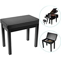 Neewer Piano Bench Stool Keyboard Bench - Padded Cushion Deluxe Comfort with Music Storage, Iron-Made Legs for Piano, Keyboard, Vanity Table, Music Books/Sheet, etc, 20.8x11.8x19 inches (Black)