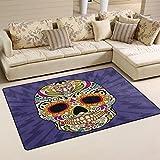 LORVIES Color Mexican Skull Area Rug Carpet Non-Slip Floor Mat Doormats for Living Room Bedroom 31 x 20 inches