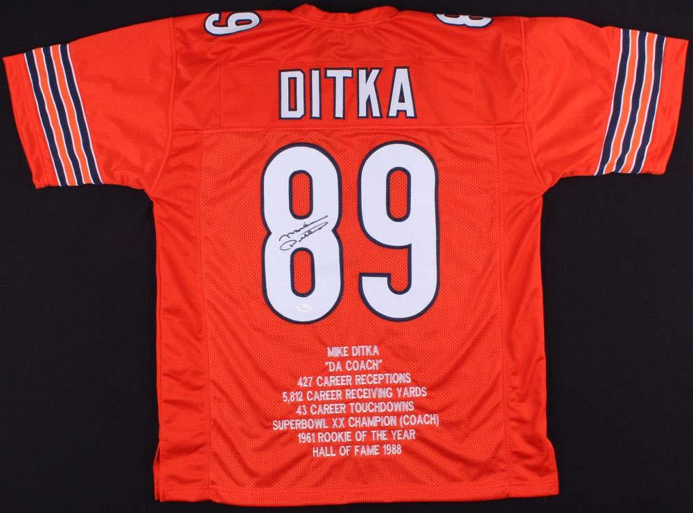Autographed//Signed Mike Ditka Chicago Orange Football Jersey JSA COA
