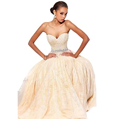 Sherri Hill Strapless Lace & Tulle Gown White - 2