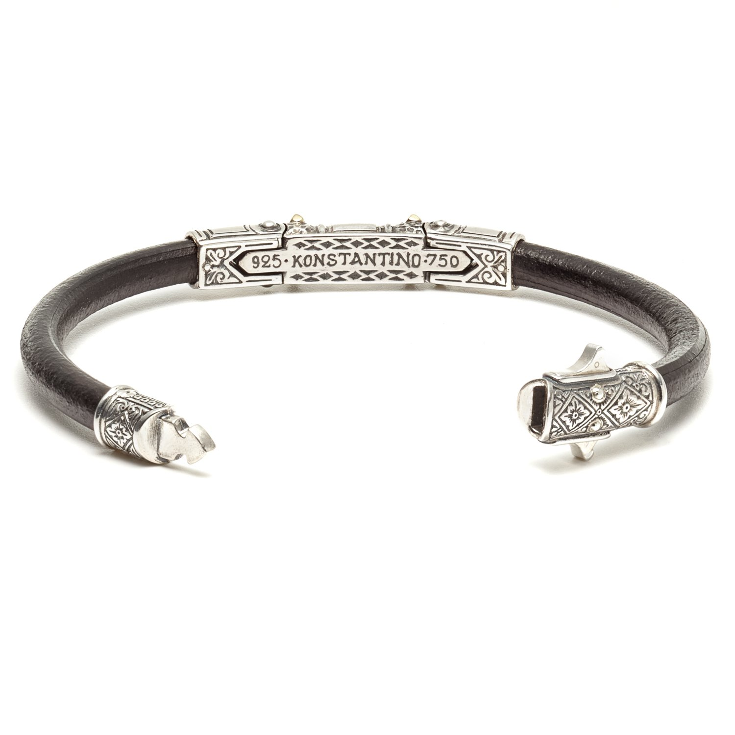 Konstantino Hephaestus Collection Silver and Gold Leather Bracelet by Konstantino (Image #3)