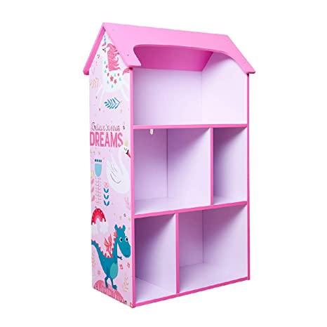 Toffy Friends Kids Pink Wooden Bookshelf With Storage Dollhouse Kids Room Organizer Environmentally Friendly Uv Paint Non Toxic Lead Free