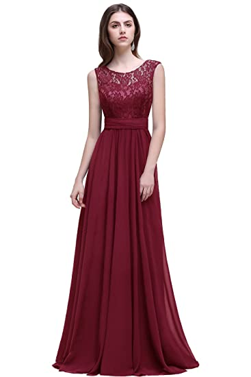 Buy Babyonlinedress Womens Sleeveless Evening Party Long Lace Chiffon Dress Burgundy 6 At Amazon In
