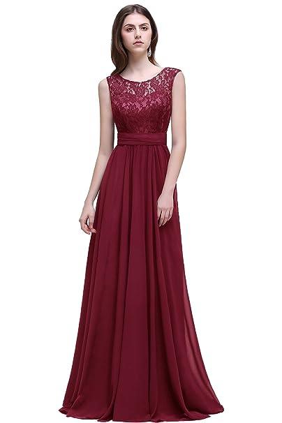 Misshow Long Prom Dress Scoop Bridesmaid Dress Lace Chiffon