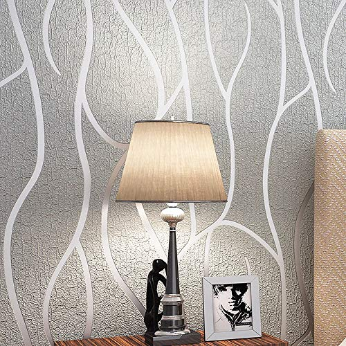 Blooming Wall Extra-Thick Modern Non-Woven Leaf Flows Pattern Wallpaper Wall Paper Roll for Livingroom Bedroom, (68203)
