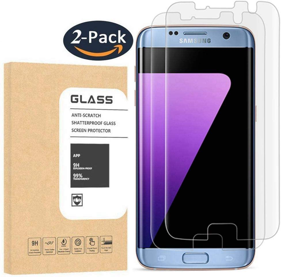 [2 Pack] Galaxy S7 Edge Tempered Glass Screen Protector, OLINKIT [Half Coverage] [9H Hardness] [Anti-Scratches] [Anti-Fingerprint] [Bubble-Free] Premium HD Screen Protector for Samsung Galaxy S7 Edge