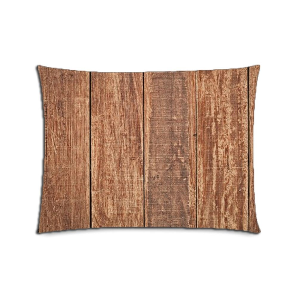 Custom Solid Wood Floors Cotton Polyester Pillowcase Pillow Cover With Zipper Standard Size 20x26 (Twin Sides)