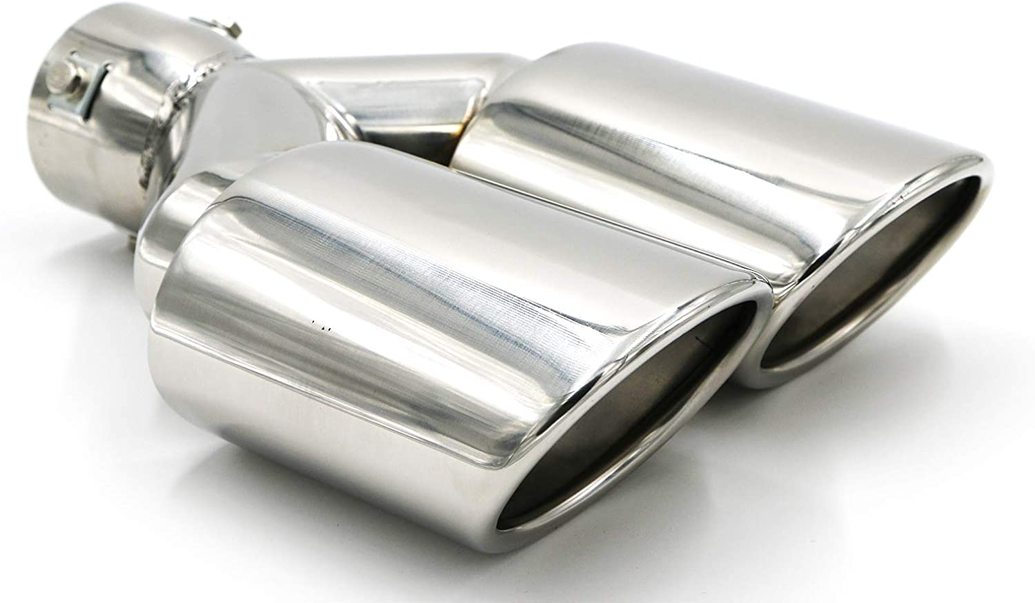 X9.5 EXT46 2.4X2 Fit for 2.5 Inch Inlet 2x2.4 Outlet 9.5 Overall Length Stainless Steel Clamp on Dual Exhaust Tip Tailpipe Duo Layer 2.5X RP Remarkable Power