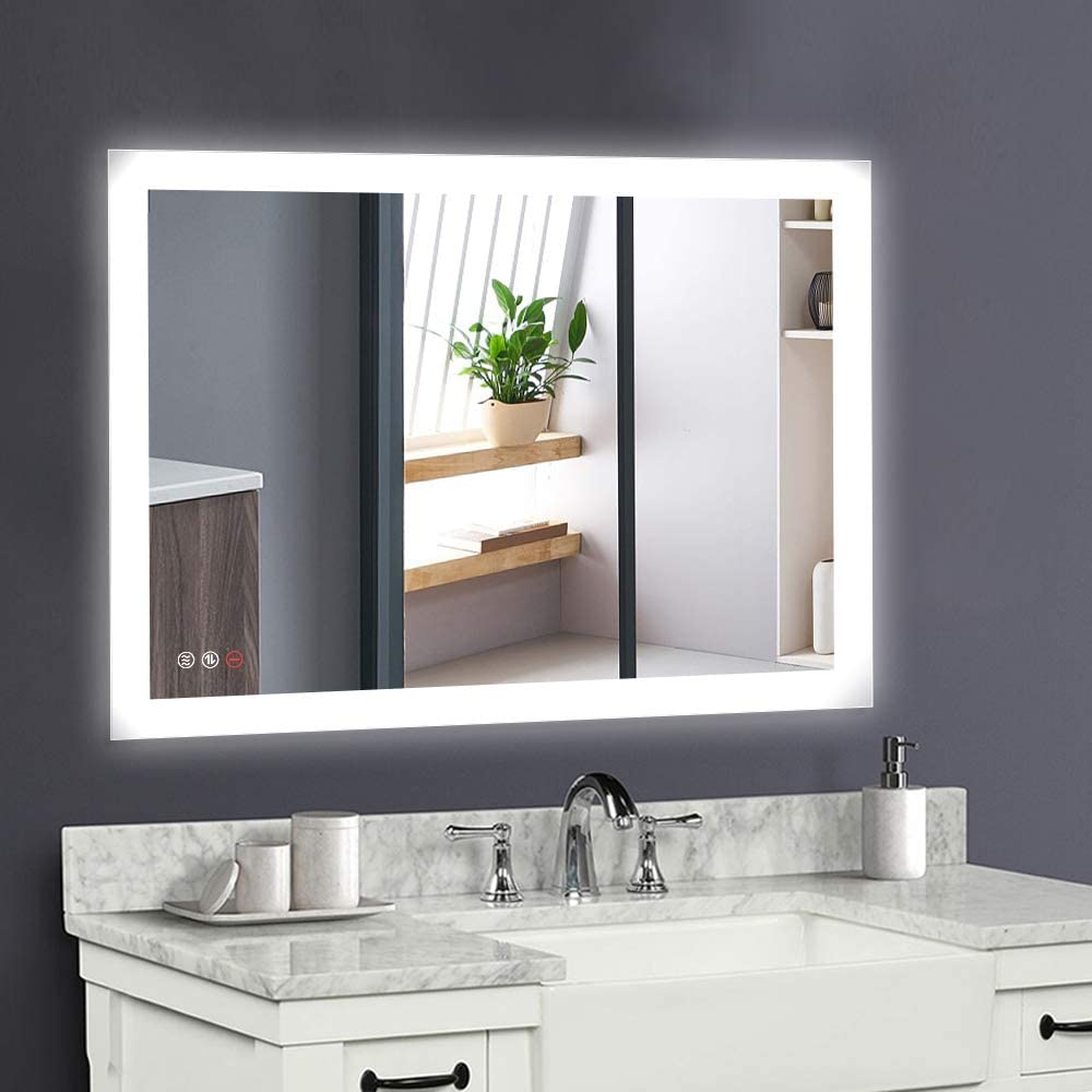 Amazon Com 36x28 Inch Led Lighted Bathroom Wall Mounted Mirror With High Lumen Cri 95 Adjustable Color Temperature Anti Fog Separately Control Dimmer Function Ip44 Waterproof Vertical Horizontal Kitchen Dining