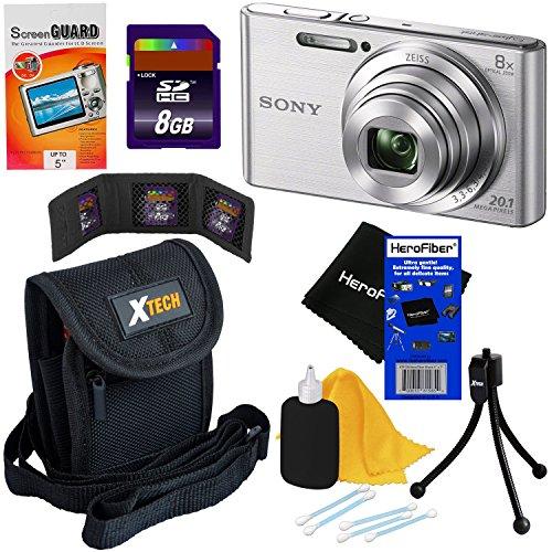 - Sony Cyber-shot DSC-W830 20.1 MP Digital Camera with 8x Optical Zoom & Full HD 720p Video, Silver - International Version (No Warranty) + 7pc 8GB Accessory Kit w/ HeroFiber® Gentle Cleaning Cloth