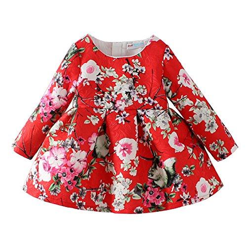 Mud Kingdom Jacquard Peach blossom Girls Long Sleeve Dresses