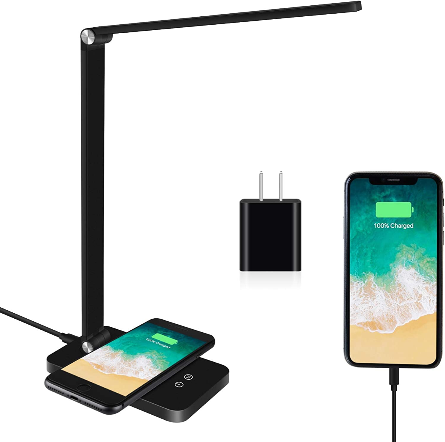 LED Desk Lamp, Desk lamp with Wireless Charger, USB Charging Port,Eye-Caring Desk Lamps for Home Office, 5 Lighting Modes and 3 Brightness Levels, Touch Table Lamp for Study, Work, Reading Light
