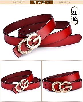 GQFGYYL-PD Señoras Cuero Liso Hebilla de Cinturon de Ocio Personalidad GG  Hebilla de Cinturon de Cuero Cinturon Letra f97ea4f5e28b