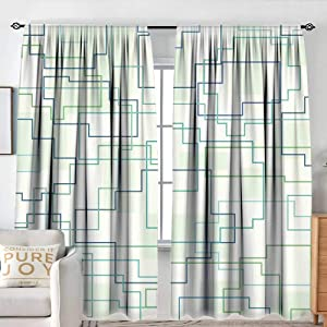 """NUOMANAN Blackout Curtains for Bedroom Geometric,Futuristic Design Like a Subway Line with All Routes in Town Pattern,Mint Green Royal Blue,for Bedroom&Kitchen&Living Room 100""""x96"""""""